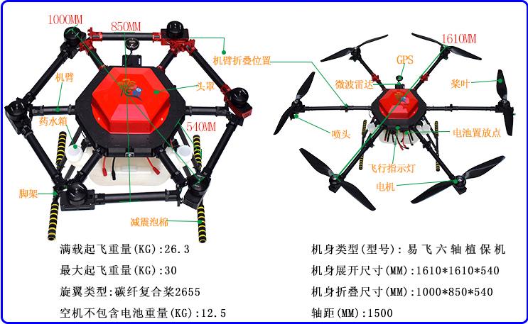 YF六轴植保无人机